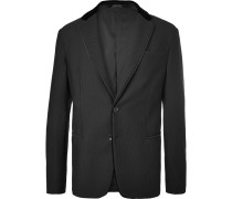 Black Velvet-trimmed Textured-jersey Blazer