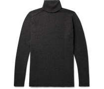 Mélange Wool And Cotton Blend-rollneck Sweater - Charcoal