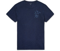 Indigo-dyed Printed Slub Cotton-jersey T-shirt