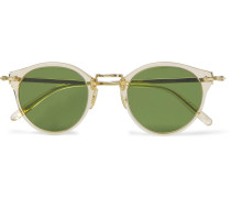 Op-505 Round-frame Acetate And Silver-tone Polarised Sunglasses