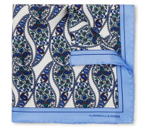 Paisley-print Silk-twill Pocket Square - Blue