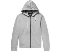 Lace-detailed Mélange Bonded-jersey Hoodie - Gray