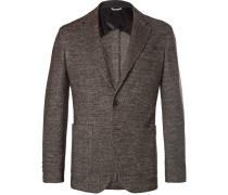 Brown Slim-fit Unstructured Herringbone Wool-blend Blazer