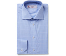 Light-blue Cutaway-collar Prince Of Wales Checked Cotton-poplin Shirt