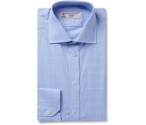 Light-blue Cutaway-collar Prince Of Wales Checked Cotton-poplin Shirt - Blue