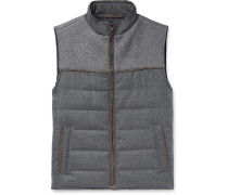 Slim-fit Panelled Quilted Jersey And Virgin Wool Down Gilet