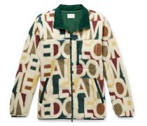 Shell-Trimmed Logo-Print Fleece Jacket