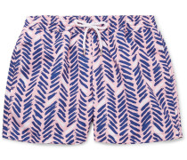 Pira Slim-fit Short-length Printed Swim Shorts - Pink
