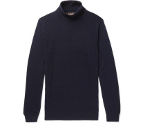 Slim-fit Herringbone Cashmere Rollneck Sweater