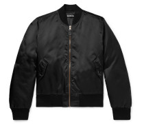 Embroidered Shell Bomber Jacket - Black