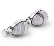 Sterling Silver Agate Cufflinks - Silver