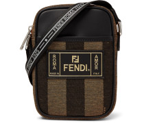 Logo-detailed Leather-trimmed Canvas Camera Bag - Brown