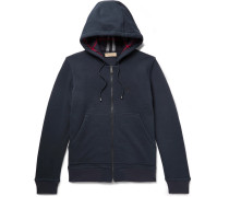 Cotton-blend Jersey Zip-up Hoodie - Navy