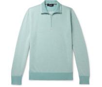 Roadster Slim-Fit Striped Cashmere Half-Zip Sweater