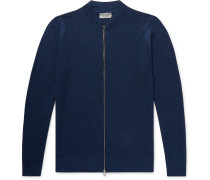 Singular Slim-fit Honeycomb-knit Virgin Wool Zip-up Cardigan - Storm blue