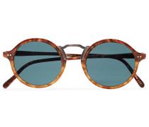 Kosa Round-Frame Tortoiseshell Acetate and Gold-Tone Polarised Sunglasses