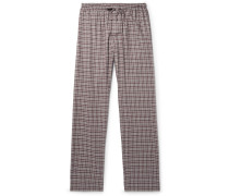 Checked Cotton And Wool-blend Flannel Pyjama Trousers - Burgundy