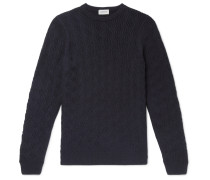 Textured Virgin Wool Sweater - Navy