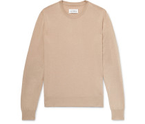 Slim-fit Suede Elbow-patch Cotton And Wool-blend Sweater - Camel