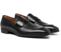 Kensington Leather Penny Loafers - Black