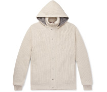Ribbed Cashmere and Shell Hooded Down Cardigan