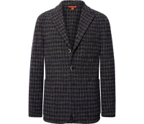 Slim-Fit Checked Woven Blazer