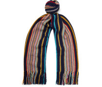 Fringed Striped Wool-Blend Scarf
