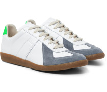 Replica Leather And Suede Sneakers - White