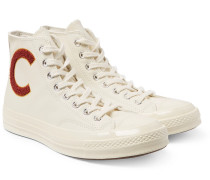 1970s Chuck Taylor All Star Appliquéd Leather High-top Sneakers - Cream
