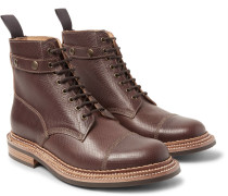 Flight Cross-grain Leather Boots With Detachable Shearling Trims