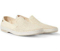 Cotton-mesh And Canvas Espadrilles - Neutral