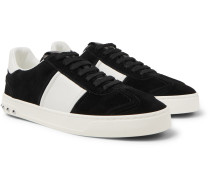 Valentino Garavani Flycrew Leather-panelled Suede Sneakers