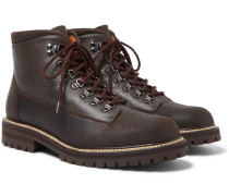 Jacques Shearling-lined Waterproof Waxed-suede And Full-grain Leather Boots - Brown