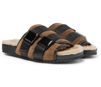Churchill Shearling-lined Leather-trimmed Suede Slides