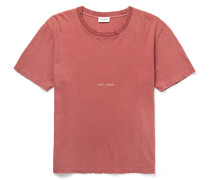 Distressed Printed Washed Cotton-jersey T-shirt