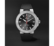 Aquis Date Relief Automatic 43.5mm Stainless Steel And Leather Watch - Black