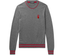 Slim-fit Appliquéd Cashmere And Virgin Wool-blend Sweater