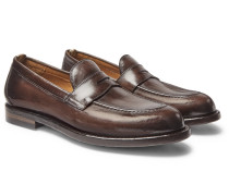 Ivy Burnished-Leather Penny Loafers