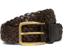3cm Dark-brown Woven Leather Belt