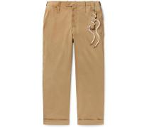 Wide-leg Cotton-blend Twill Trousers - Beige