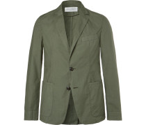 Olive Garment-dyed Cotton Unstructured Blazer