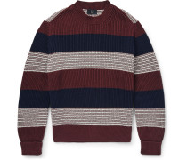 Slim-fit Striped Ribbed Cotton Sweater