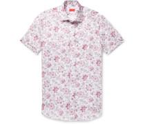 Slim-fit Floral-print Linen Shirt - Pink