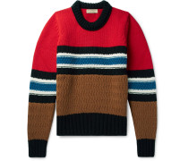 Striped Wool And Cashmere-blend Sweater - Red