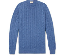 Cable-knit Cashmere Sweater - Blue