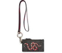 Printed Monogrammed Coated-canvas And Leather Zipped Cardholder - Black
