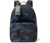 Valentino Garavani Leather-trimmed Camouflage-print Nylon Backpack - Navy
