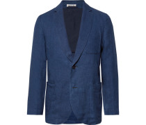 Slim-fit Unstructured Indigo-dyed Linen-twill Blazer