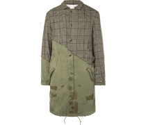 Panelled Distressed Puppytooth Alpaca And Cotton-canvas Coat - Brown