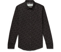 Slim-fit Logo-print Cotton-poplin Shirt - Black